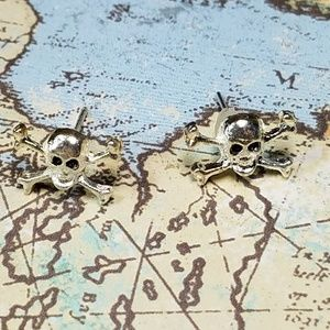 Tiny skull and crossbones earrings